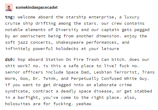 tumblr post comparing The Next Generation and Deep Space Nine